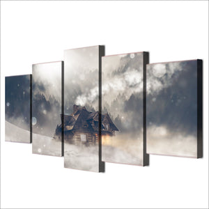 5 piece Canvas Panel Wall Art Picture Print - Winter scene house snow forest : cheap canvas prints wall paintings pictures