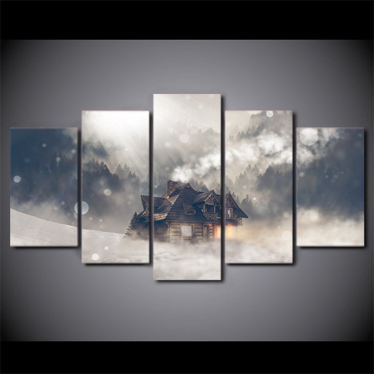 5 piece Canvas Painting - Winter scene house snow forest