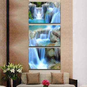 3 piece Mountain stream water stone : cheap canvas prints wall paintings pictures