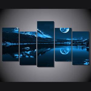 5 Panel Snowy night moon with mountains wall art canvas panel picture print : cheap canvas prints wall paintings pictures