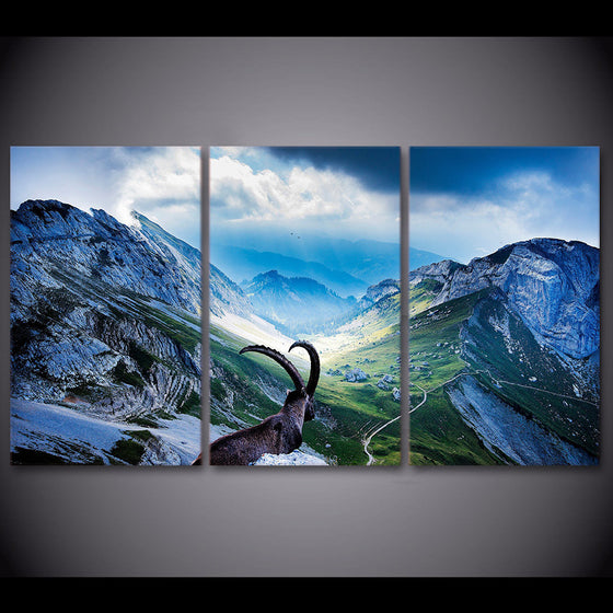 3 piece Capra Pyrenaica Mountain canvas print - ASH Wall Decor - Wall Art Picture Painting Canvas Living Room
