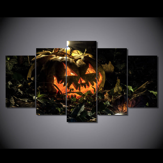 5 panel wall print on canvas candle SPOOKY halloween pumpkin at night- BOO! - ASH Wall Decor - Wall Art Canvas Panel Print Painting