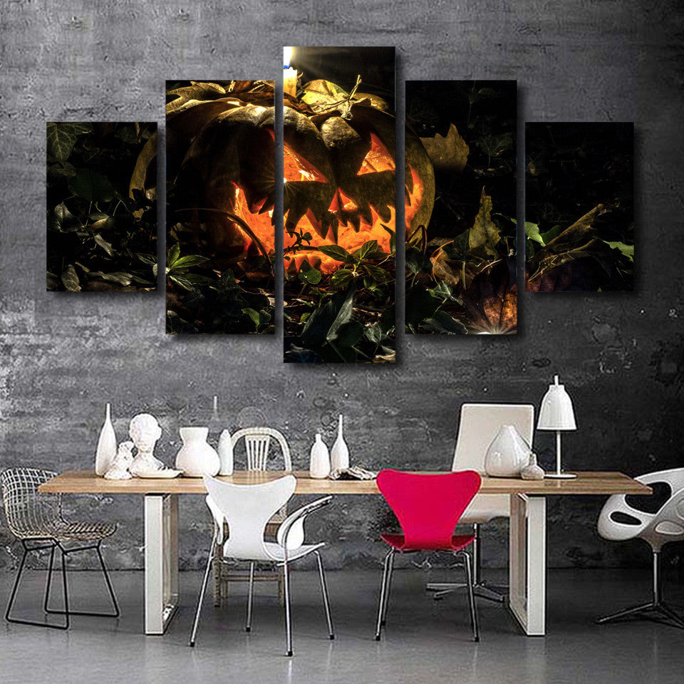 Superior 5 Panel Wall Print On Canvas Candle SPOOKY Halloween Pumpkin At Night  BOO!