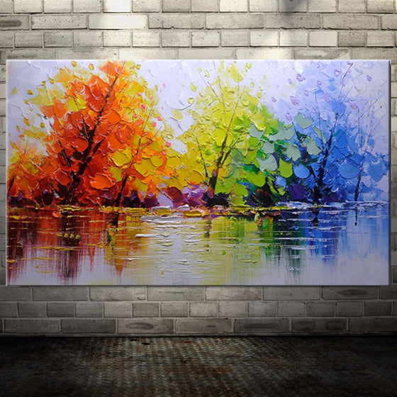100% Handpainted Color Tree Knife Modern Oil Painting On Canvas Wall Decor - ASH Wall Decor - Wall Art Canvas Panel Print Painting