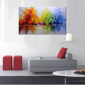 100% Handpainted Color Tree Knife Modern Oil Painting On Canvas Wall Decor : cheap canvas prints wall paintings pictures
