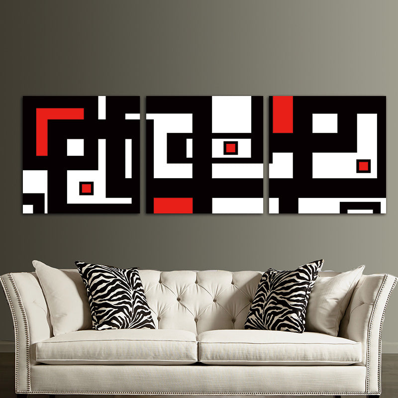 Red Black White Design Modern Abstract Wall Art Decor For Living