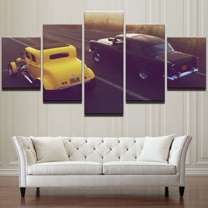 American Graffiti - Yellow 32 Ford Black 55 Chevy racing wall art decor canvas : cheap canvas prints wall paintings pictures