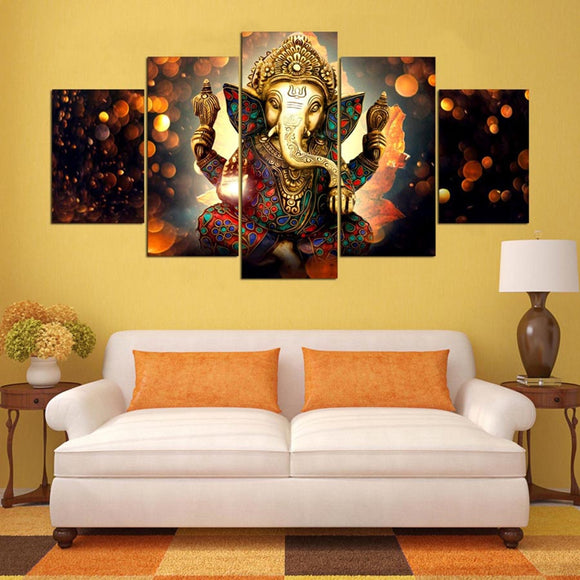 5 Panel Wall Art Elephant Trunk God Modular Ganesha Picture framed unframed