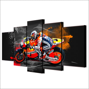 5 pcs piece panel print wall art - sportbike racing repsol - red bull : cheap canvas prints wall paintings pictures