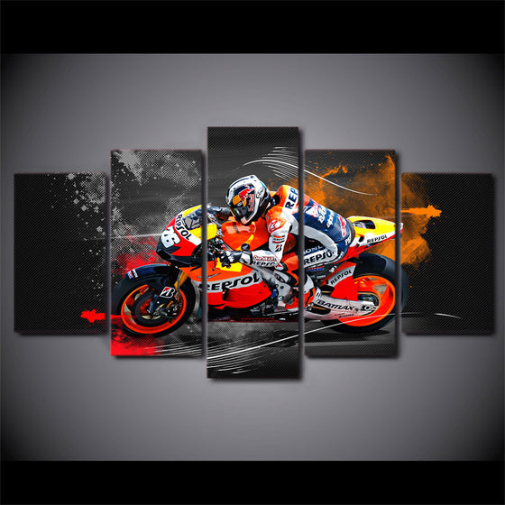 5 piece wall art - sportbike racing repsol - red bull - ASH Wall Decor - Wall Art Picture Painting Canvas Living Room