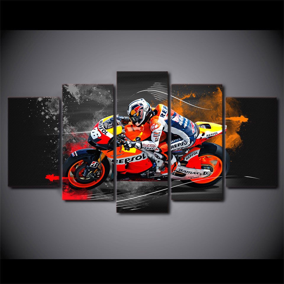 5 piece wall art - sportbike racing repsol - red bull - ASH Wall Decor
