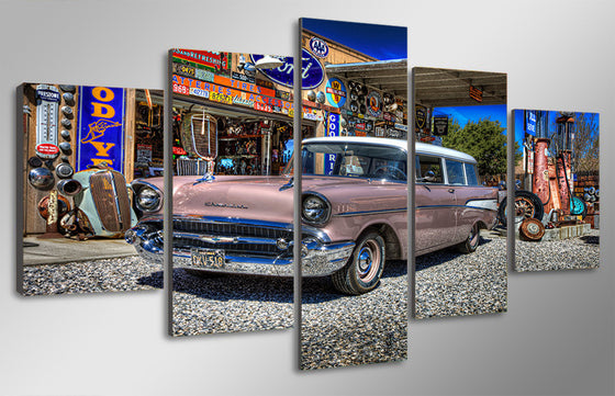 1957 Chevy Nomad canvas wall art graffiti - ASH Wall Decor - Wall Art Canvas Panel Print Painting