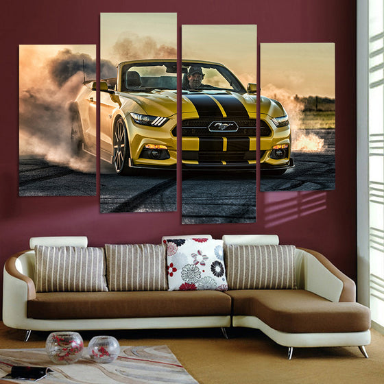 HD Printed Hennessy Ford Mustang Convertible Car Picture 4 panel wall art - ASH Wall Decor - Wall Art Picture Painting Canvas Living Room