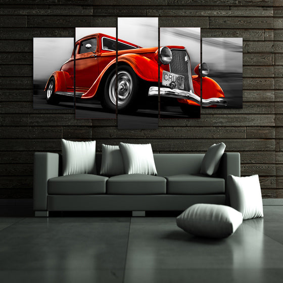 1932 Ford Orange Street Rod 5 piece canvas art - ASH Wall Decor - Wall Art Picture Painting Canvas Living Room