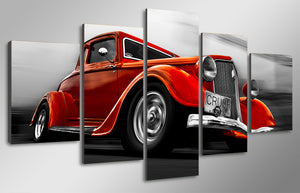 1932 Ford Orange Street Rod Car 5 panel piece canvas panel wall art picture : cheap canvas prints wall paintings pictures