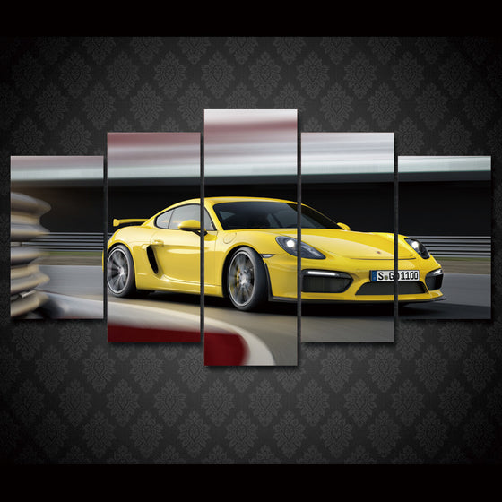 Yellow GT4 Porsche 5 piece  room wall art - ASH Wall Decor - Wall Art Picture Painting Canvas Living Room