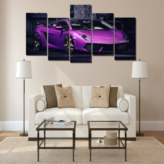 Purple Pearl Automobili Lamborghini Group  print - 5 piece wall art - ASH Wall Decor - Wall Art Picture Painting Canvas Living Room