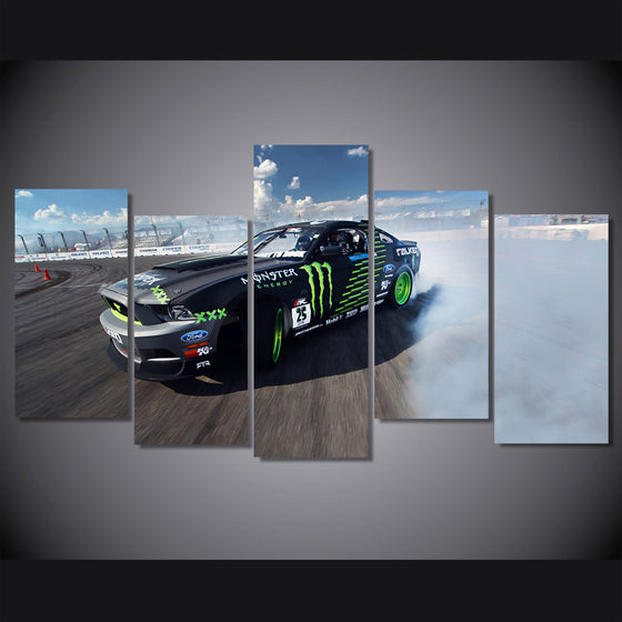 Mustang Drifter Race Car 5 piece Canvas Wall Art Monster Drink - ASH Wall Decor - Wall Art Picture Painting Canvas Living Room