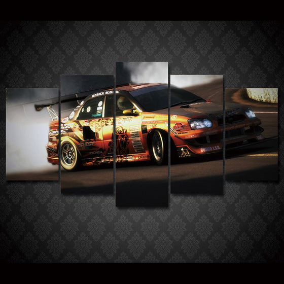 Rally Race Car Drifting 5 piece wall art on canvas - ASH Wall Decor - Wall Art Picture Painting Canvas Living Room