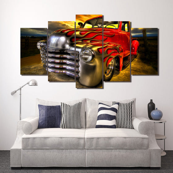 Flamed flames Red Chevy 5 window truck lowrider 5 piece wall art - ASH Wall Decor - Wall Art Picture Painting Canvas Living Room