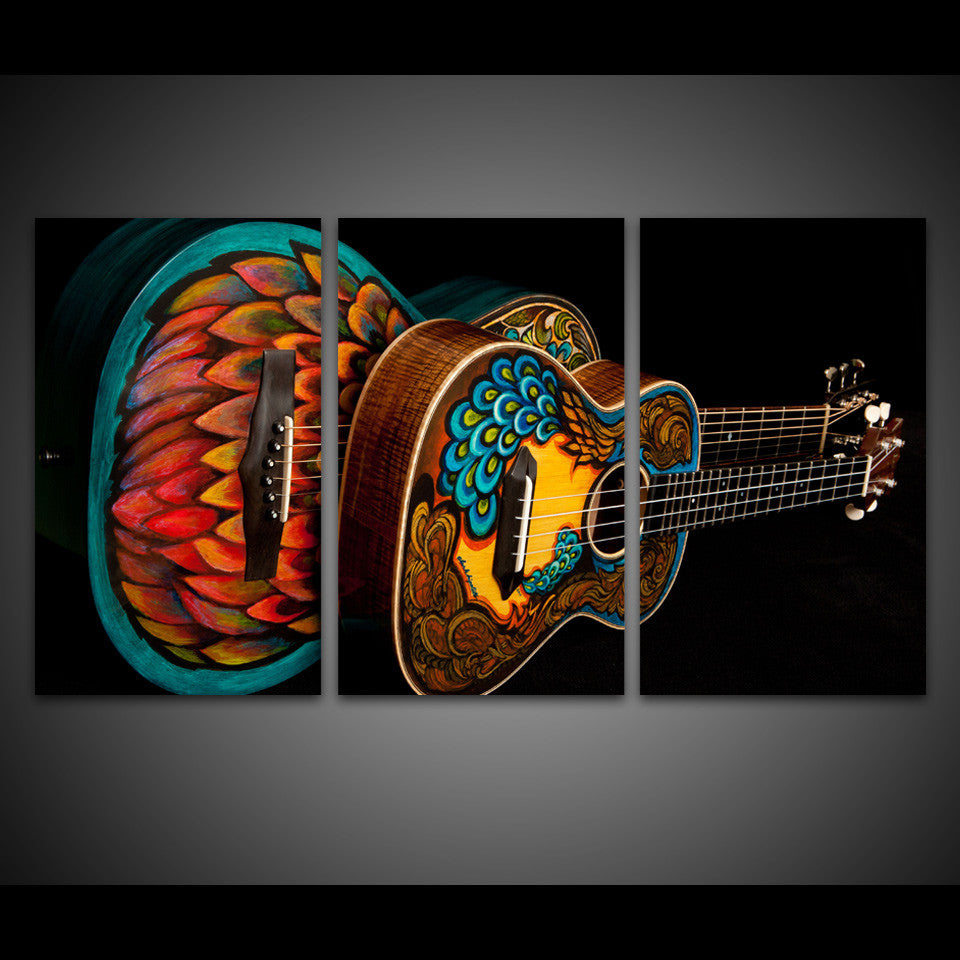 ... HD Printed 3 Piece Canvas Art Music Instrument Vintage Guitar Wall  Pictures   ASH Wall Decor ...