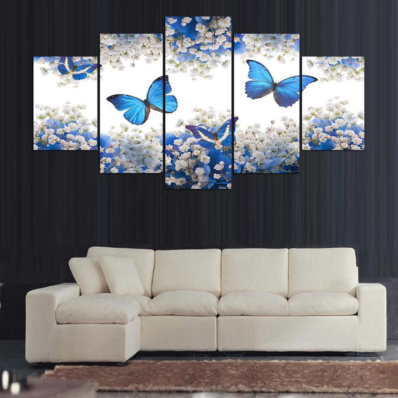 Blue Butterfly Butterflies Flowers Home Wall Art Canvas Decor  Framed UNframed - ASH Wall Decor - Wall Art Picture Painting Canvas Living Room