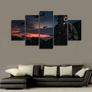 Female soldier field camouflage sunset picture panel wall art on canvas : cheap canvas prints wall paintings pictures
