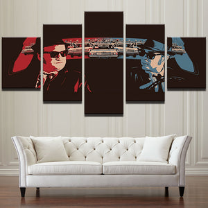 5 Pieces Pcs Panel Retro Car Blues Brothers Movie Characters Wall Art Canvas