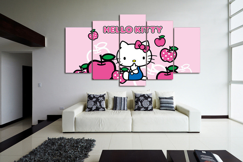 HELLO KITTY 5 Piece Wall Art For Kids Room   ASH Wall Decor   Wall Art