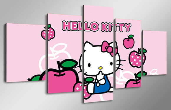 HELLO KITTY 5 piece wall art for kids room - ASH Wall Decor - Wall Art Picture Painting Canvas Living Room