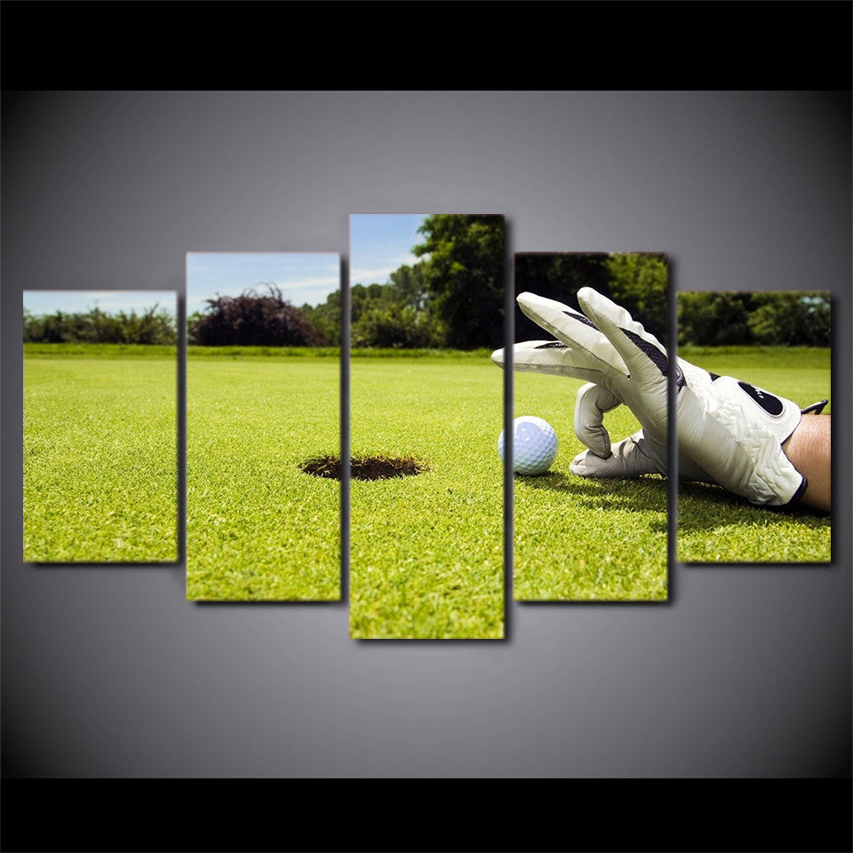 5 Piece Canvas Art Golf Course Painting Framed Wall Picture - ASH ...