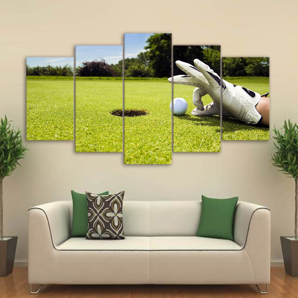 5 piece canvas art golf course painting framed wall picture ash wall decor. Black Bedroom Furniture Sets. Home Design Ideas