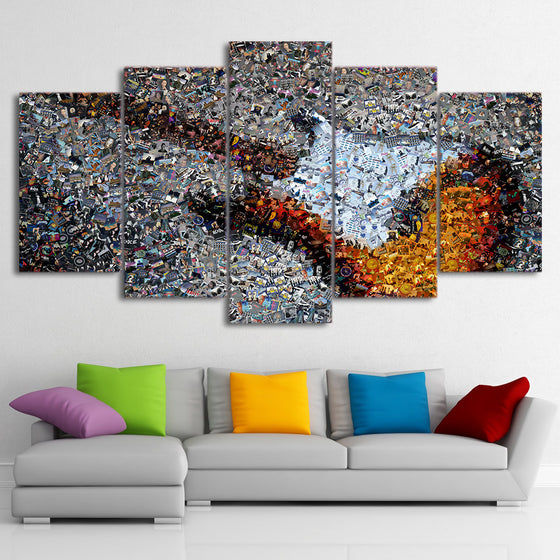 Guitar Abstract wall art print on canvas - tiny images - ASH Wall Decor - Wall Art Picture Painting Canvas Living Room