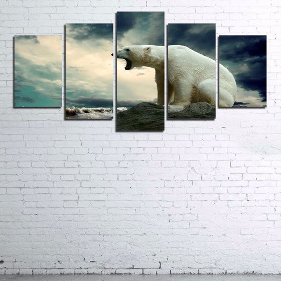 Roaring Polar Bear Winter Canvas Wall Art Unframed Framed - ASH Wall Decor - Wall Art Picture Painting Canvas Living Room