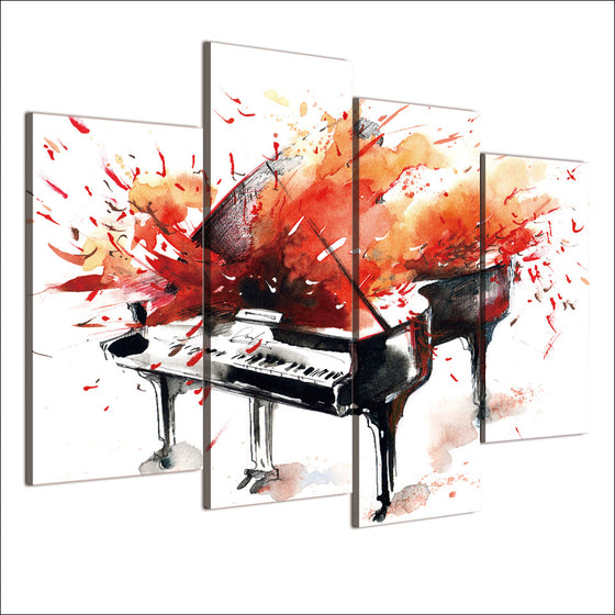 Abstract Piano Red Orange Splash print wall art on canvas - ASH Wall Decor - Wall Art Picture Painting Canvas Living Room