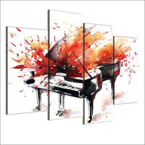 Abstract Piano Red Orange Splash print wall art on canvas : cheap canvas prints wall paintings pictures