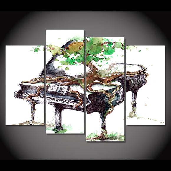 4 Piece Canvas Art Abstract Piano Print Music Wall Pictures for Living Room - ASH Wall Decor - Wall Art Picture Painting Canvas Living Room