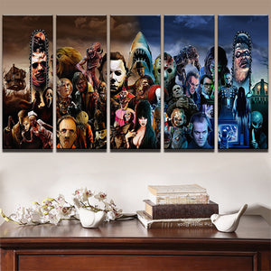 Horror Movie Characters Stars Wall Art Canvas 5 Panel - avail LARGE print : cheap canvas prints wall paintings pictures