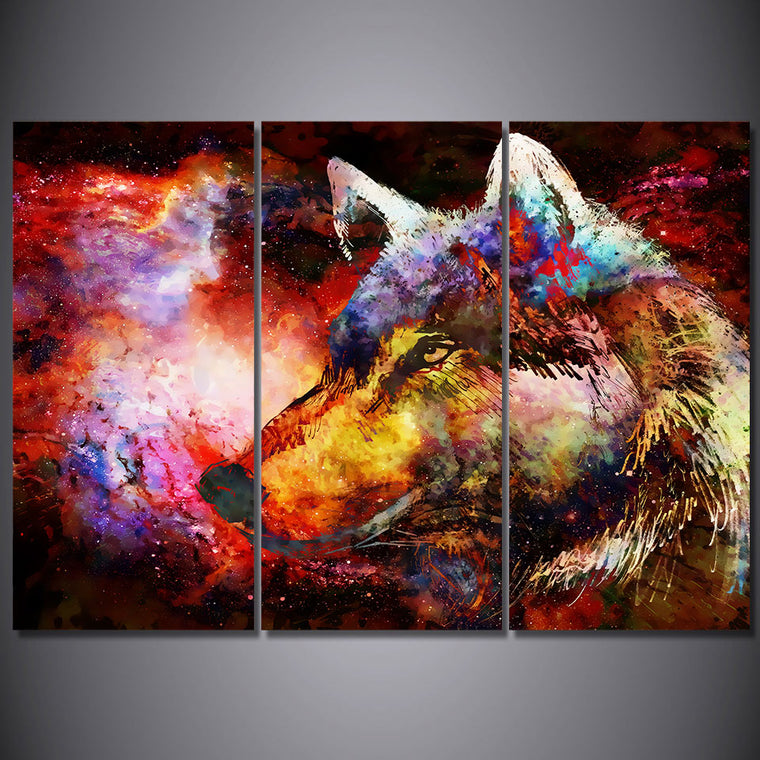 Abstract  Psychedelic  Wolf Wall Art Picture on Canvas - ASH Wall Decor - Wall Art Canvas Panel Print Painting