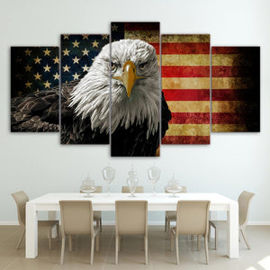 5 Piece Hi Def Printed 5 Panel Canvas Art Eagle with US Flag - ASH Wall Decor - Wall Art Canvas Panel Print Painting