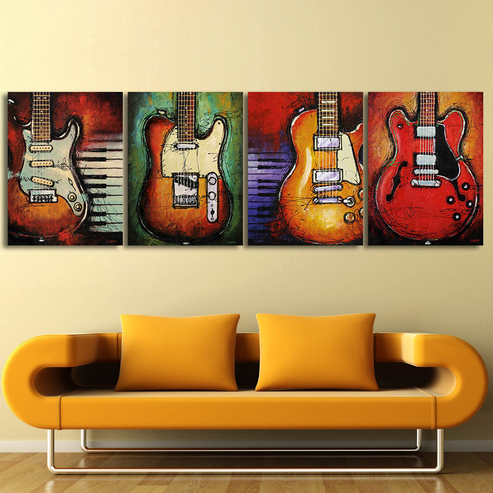 4 Piece Canvas Art Music Guitar Wall Picture Panel Print For Living Room    ASH Wall