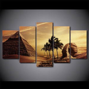 5 Piece Canvas Art Egyptian Pyramids Sphinx Canvas Wall Picture for Living Room