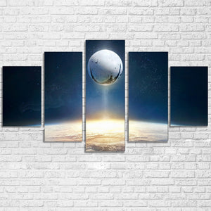 5 Panel Wall Art Universe Space Planet Print Destiny Game Picture Framed UNframe : cheap canvas prints wall paintings pictures