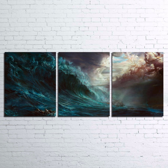 Huge Wave Storm Ocean Sea wall Art Canvas Print Poster picture 3 Panel - ASH Wall Decor - Wall Art Canvas Panel Print Painting