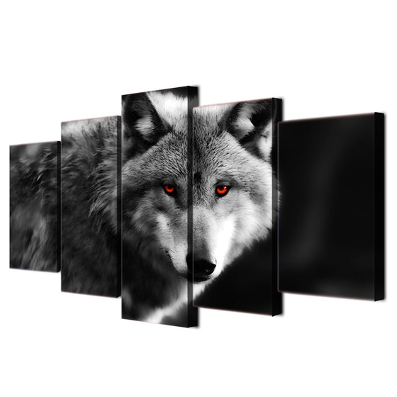 Wolf Red Eyes Panel Wall Art Canvas Print Framed UNframed - ASH Wall Decor - Wall Art Picture Painting Canvas Living Room