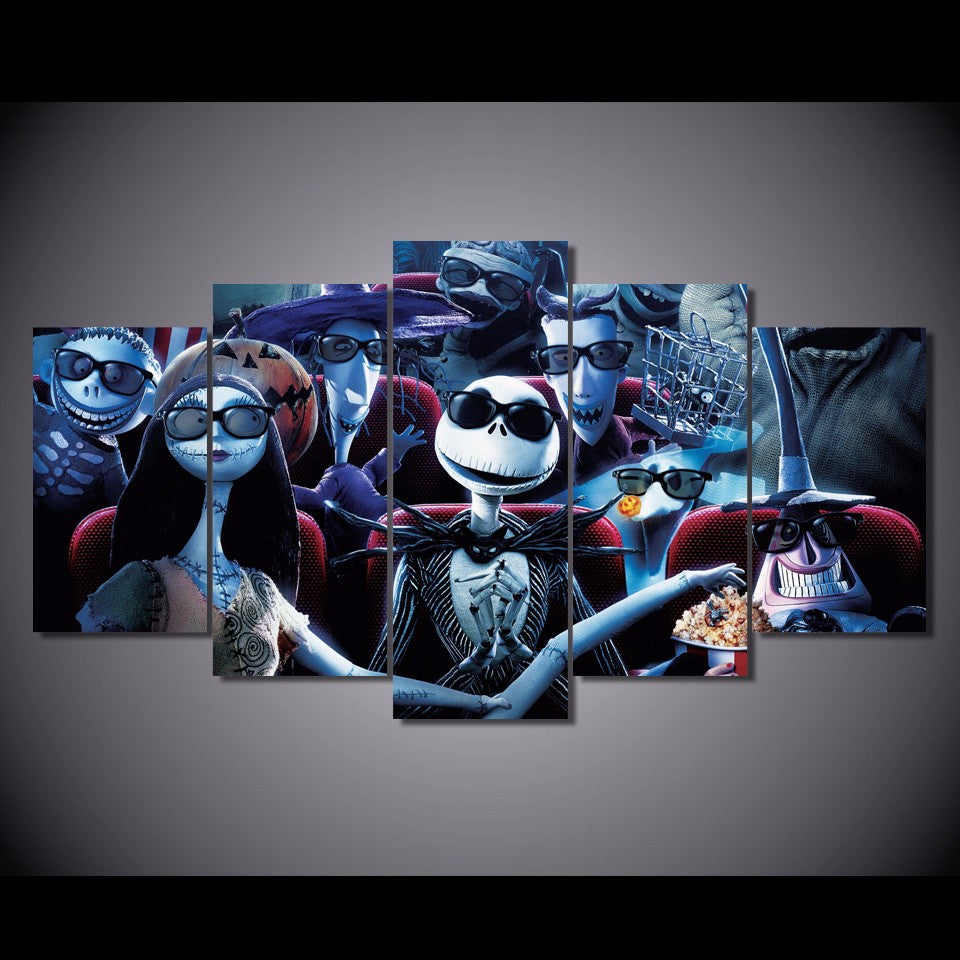 5 Pcs Nightmare Before Christmas Print Wall Art on Canvas Framed ...