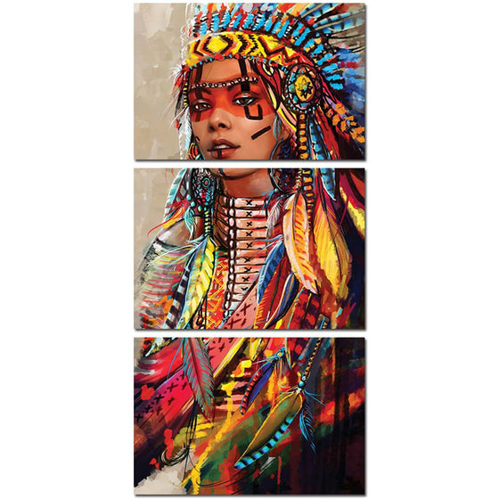 Native American Indian Girl Feathered Wall Pictures on Canvas - ASH Wall Decor - Wall Art Picture Painting Canvas Living Room