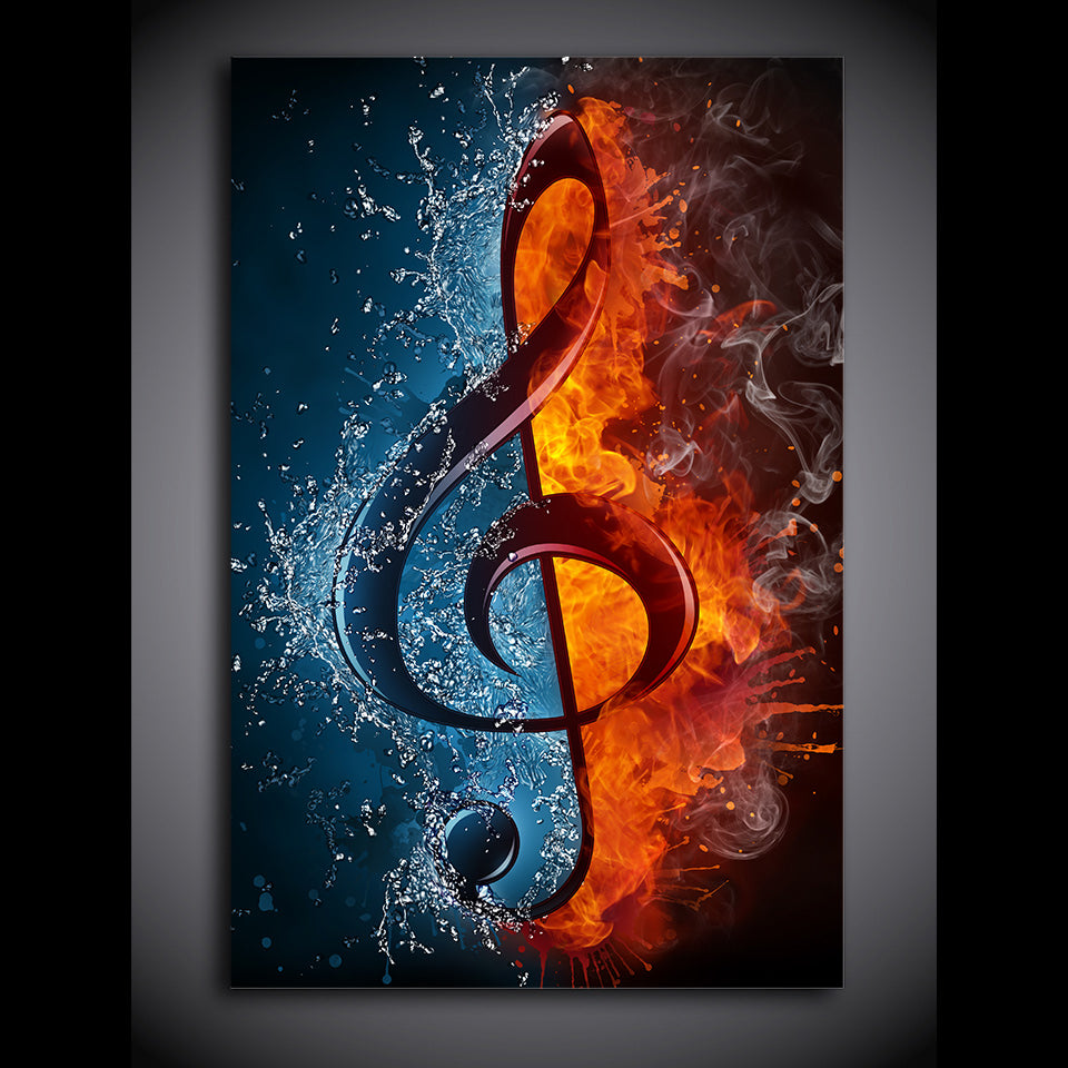 1 panel music musical note ice and fire wall art canvas print framed u ash wall decor. Black Bedroom Furniture Sets. Home Design Ideas