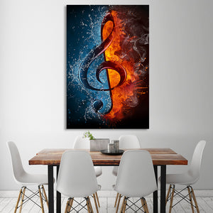 1 Panel Music Musical  Note Ice and Fire Wall Art Canvas Print Framed UNframed : cheap canvas prints wall paintings pictures