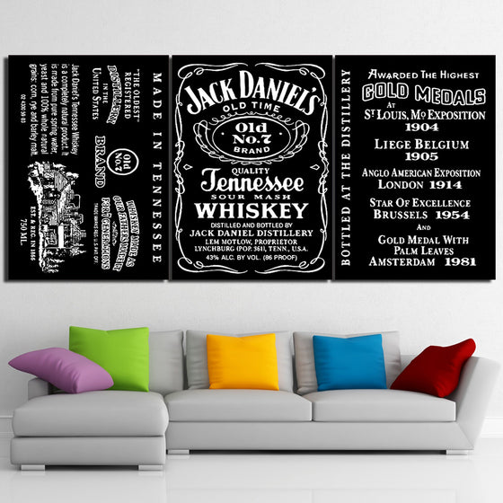 Jack Daniel's Tennessee WHISKEY 3 Panel Wall Art - Printed on canvas - ASH Wall Decor - Wall Art Picture Painting Canvas Living Room